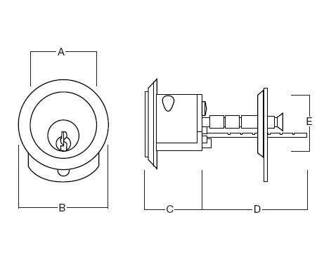 Ingersoll SC1 Rim Cylinder Polished Brass Size chart