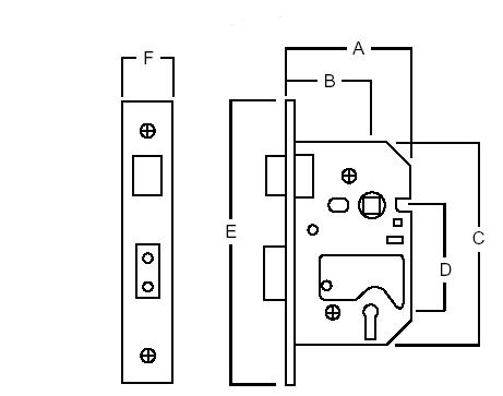 Union 2201 5 Lever Sash Lock  Size chart