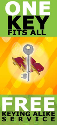 Free Keying Alike Available - One Key Fits All!