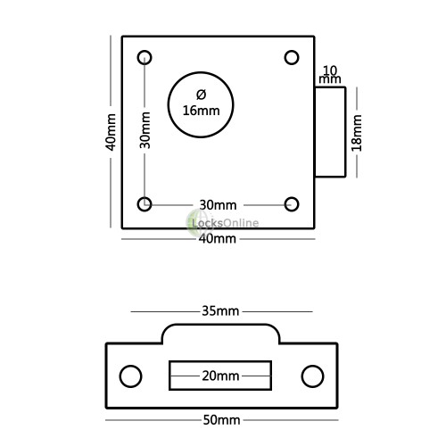 Spring-Bolt Till Security Lock with Metal Strike / Keep Plate