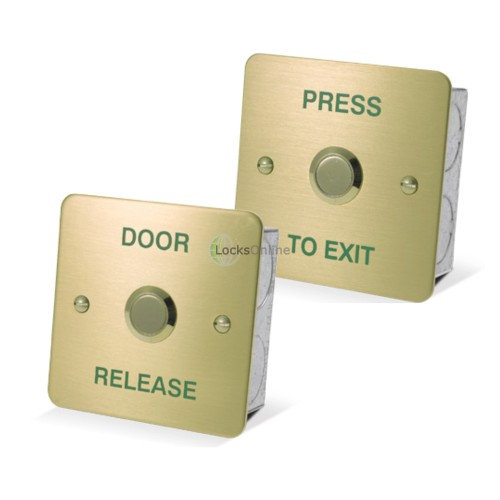 Main photo of Asec Brass 1 Gang Exit Button