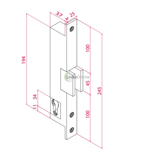 GDES 400 Mortice Door Release for Glass Doors