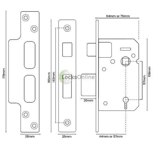 British Standard BS3621 Asec Front Door Sash Lock