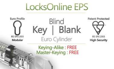 "LocksOnline EPS ""Blind"" Key Operated Euro Cylinder (Blank One Side)"