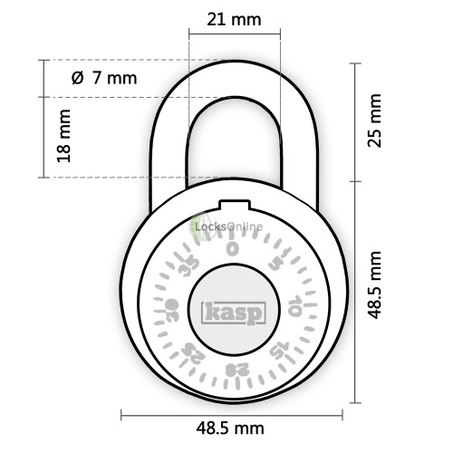 KASP Locker Style Combination Dial Padlock