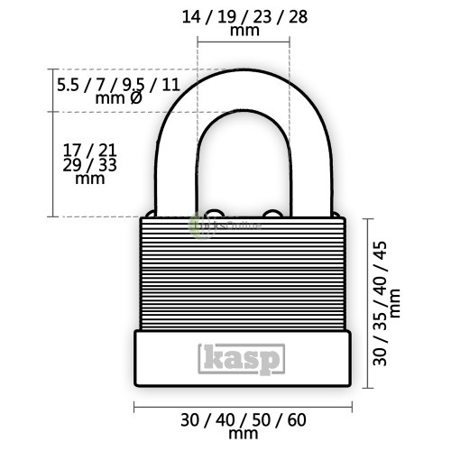 KASP Laminated Steel Standard Shackle Padlocks