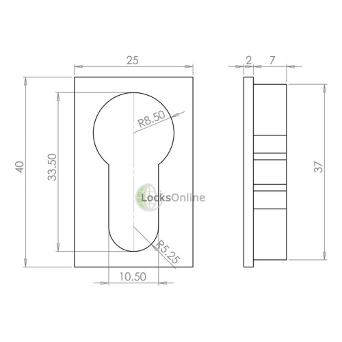 LocksOnline Minimal Flush Euro Profile Rectangular Escutcheon