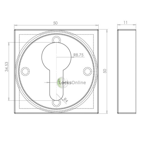 LocksOnline Square Euro Profile Escutcheon