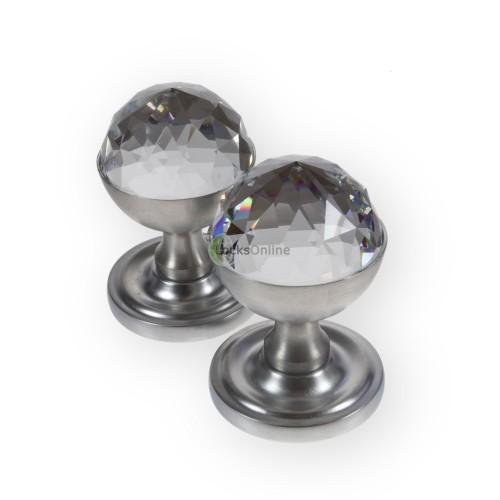 LocksOnline Acorn Crystal Mortice Door Knob Set with Swarovski Elements