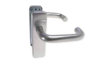 LocksOnline Aluminium Round Bar Lever Door Handle on Backplate