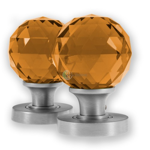 Main photo of LocksOnline Glass Faceted Mortice Door Knob - Amber