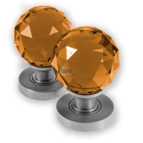 LocksOnline Glass Faceted Mortice Door Knob - Amber