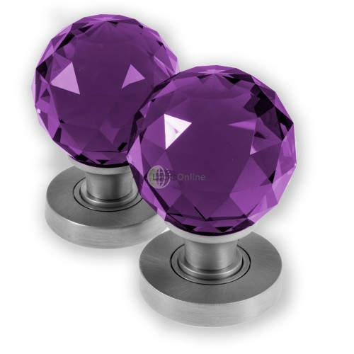 LocksOnline Glass Faceted Mortice Door Knob Set - Purple