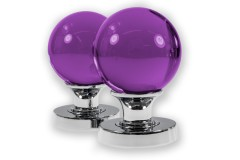 LocksOnline Glass Ball Mortice Door Knob Set - Purple