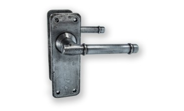 "LocksOnline ""Belfry"" Pewter Hand-forged Door Handle Set on Backplate"