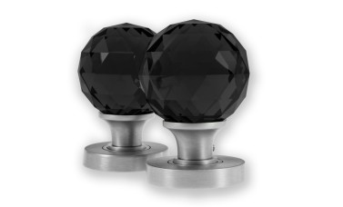 LocksOnline Glass Faceted Mortice Door Knob Set - Black