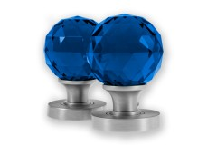 LocksOnline Glass Faceted Mortice Door Knob Set - Blue