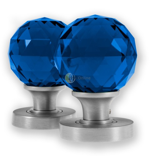 Main photo of LocksOnline Glass Faceted Mortice Door Knob Set - Blue