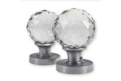 LocksOnline Clear Glass Faceted Mortice Door Knob Set