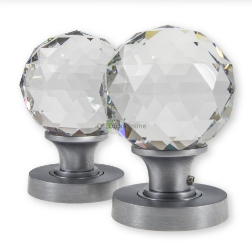Main photo of LocksOnline Clear Glass Faceted Mortice Door Knob Set