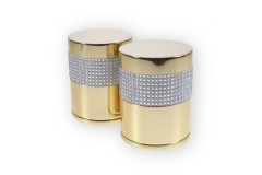 LocksOnline Crystal Detail Silver Banded Cylindrical Mortice Door Knob Set with Swarovski Elements