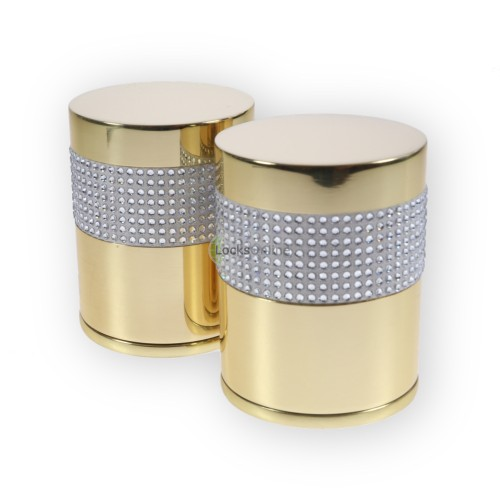Main photo of LocksOnline Crystal Detail Silver Banded Cylindrical Mortice Door Knob Set with Swarovski Elements