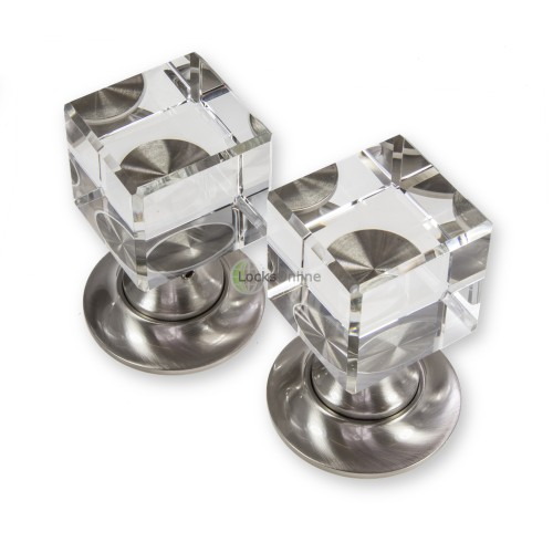 LocksOnline Cube Glass Mortice Door Knob Set