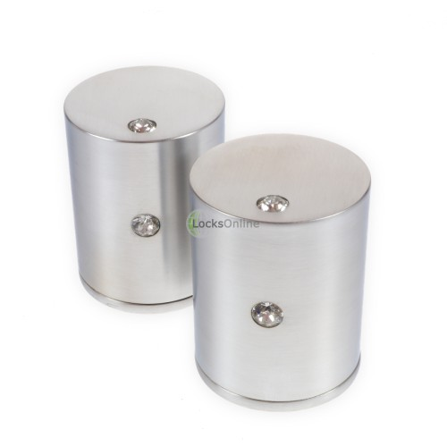 LocksOnline Double Crystal Cylindrical Mortice Door Knob Set with Swarovski Elements
