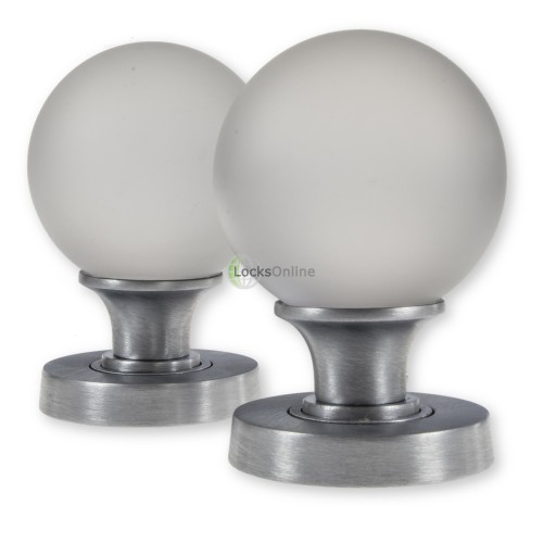 Main photo of LocksOnline Frosted Glass Ball Mortice Door Knob Set