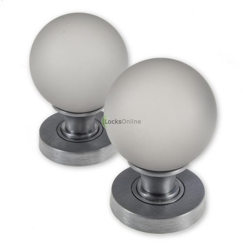 LocksOnline Frosted Glass Ball Mortice Door Knob Set