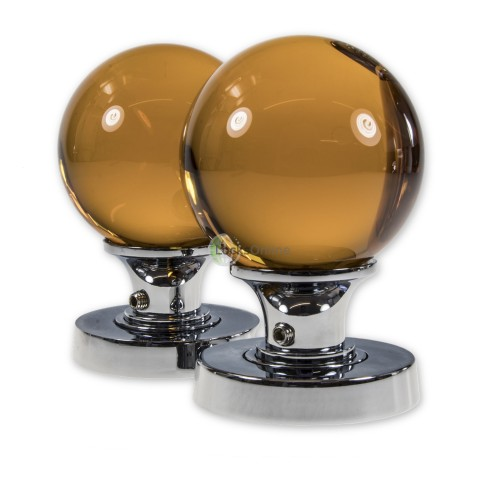 Main photo of LocksOnline Glass Ball Mortice Door Knob Set - Amber