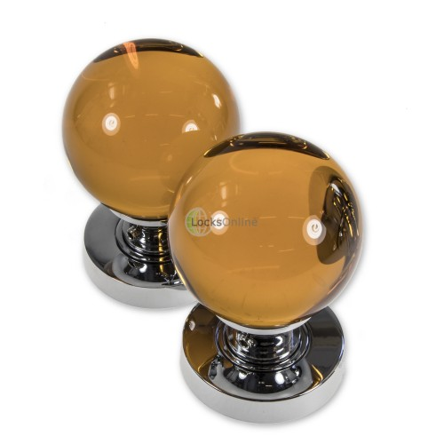 LocksOnline Glass Ball Mortice Door Knob Set - Amber