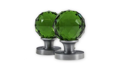 LocksOnline Glass Faceted Mortice Door Knob Set - Green
