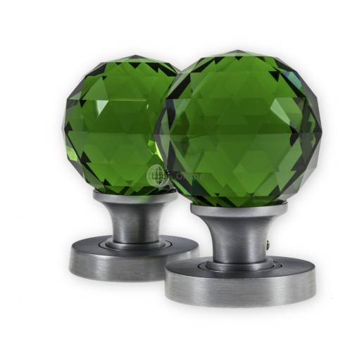 Main photo of LocksOnline Glass Faceted Mortice Door Knob Set - Green