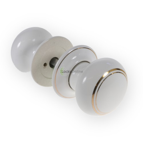 LocksOnline Goldline White Porcelain Mortice Door Knob Set