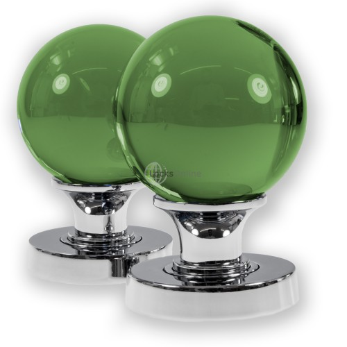 Main photo of LocksOnline Glass Ball Mortice Door Knob Set - Green