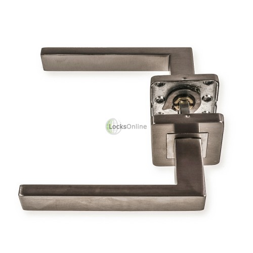 "LocksOnline ""Sirius"" Stainless Steel Door Lever on Square Rose"