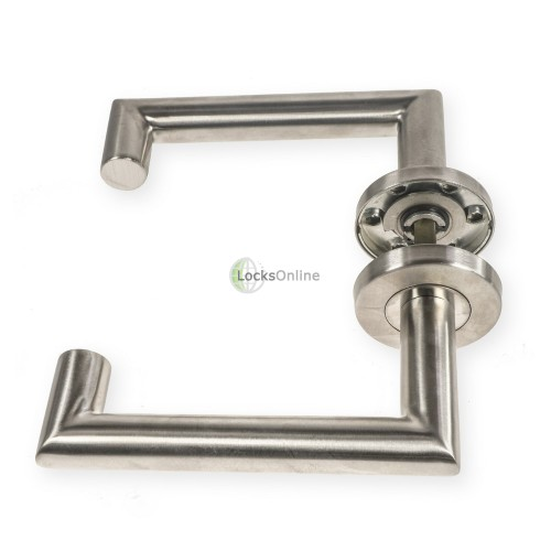 "LocksOnline ""Carina"" Stainless Steel Door Lever on Rose"