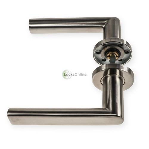 "LocksOnline ""Sandrine"" Stainless Steel Door Lever Handle on Rose"
