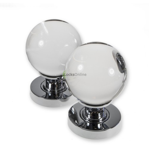 LocksOnline Plain Glass Ball Mortice Door Knob Set with 54mm Rose