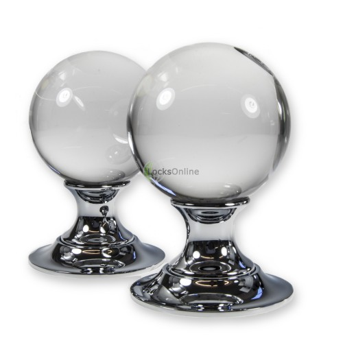 Main photo of LocksOnline Plain Glass Ball Mortice Door Knob Set