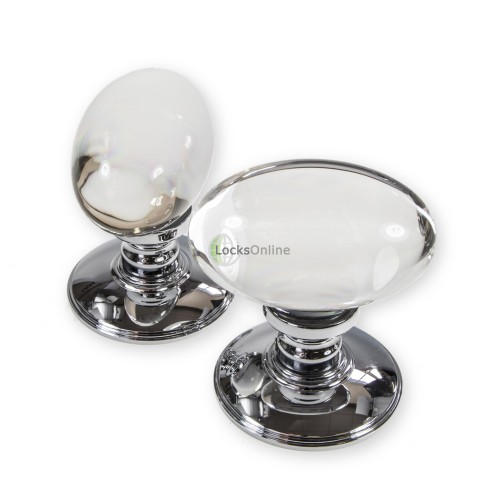 LocksOnline Plain Glass Oval Mortice Door Knob Set