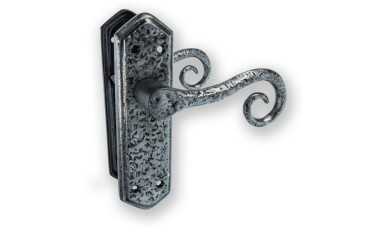 "LocksOnline ""Royal"" Pewter Door Handle Set on Backplate"