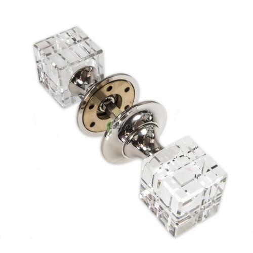 LocksOnline Rubic Glass Mortice Door Knob Set