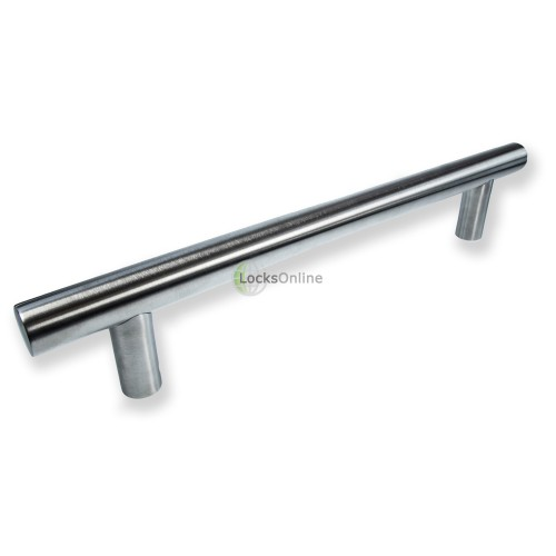 "Main photo of LocksOnline ""Guardsman"" Satin Stainless Steel Bolt Through Door Pull Handle - 25mm Bar"