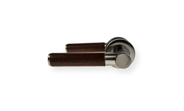 "LocksOnline ""Ascot Brown Leather"" Lever Door Handle on Round Rosette"