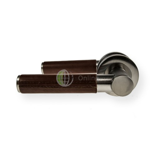"Main photo of LocksOnline ""Ascot Brown Leather"" Lever Door Handle on Round Rosette"
