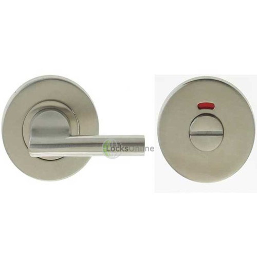 "LocksOnline Stainless Steel ""Easy Turn"" Bathroom Door Lock Set with Indicator"
