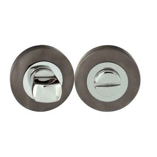 "Main photo of LocksOnline Circular Framed ""Block"" Bathroom Door Lock Set"