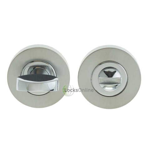 "Main photo of LocksOnline Circular Framed ""Tab"" Bathroom Door Lock Set (38mm diameter)"